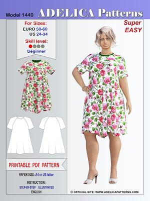 Adelica pattern 1440 Plus size sewing pattern dress