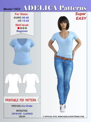 ebf8381edbbe2 Adelica pattern 1502 Fitted Knit T-Shirt Sewing Pattern PDF for sizes 12-22