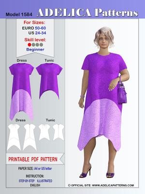 Adelica pattern 1584 Plus size sewing pattern dress