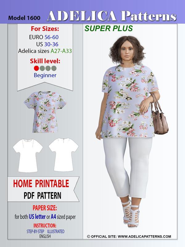 Super Plus size tunic sewing patterns